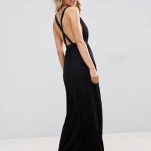ASOS Black Beach Jersey Clean V Cross Back Maxi